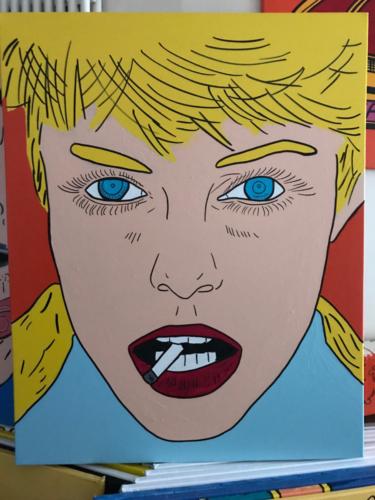 FEMME BLONDE QUI FUME _ CHRISTOPHE VIOLLAND _ ACRYLIQUE _ 100cm_80cm - copie