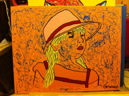 MARION _ AVEC FOND ORANGE _ CHRISTOPHE VIOLLAND _ ACRYLIQUE _ 100cm_80cm